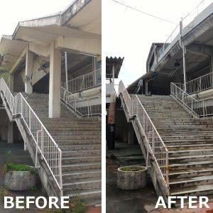 階段の屋根を撤去できました